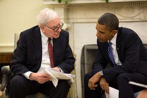 President Barack Obama and Warren Buffett in the Oval Office, July 14, 2010.