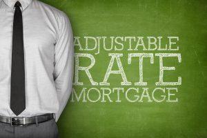 adjustable rate mortgage text on green blackboard